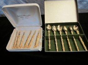 Gold Plated Vintage Appetizer Fork & Spoons