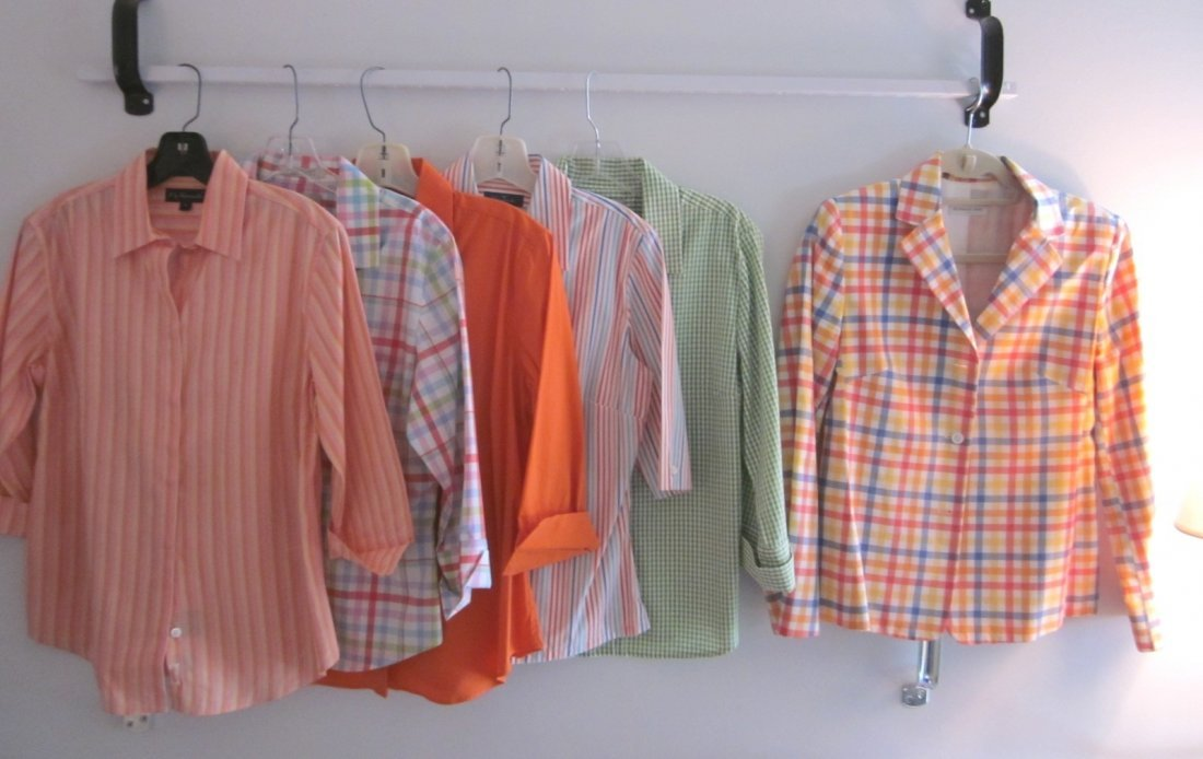 158: Lot of 6 Faconnable Spring Blouses Check Jacket