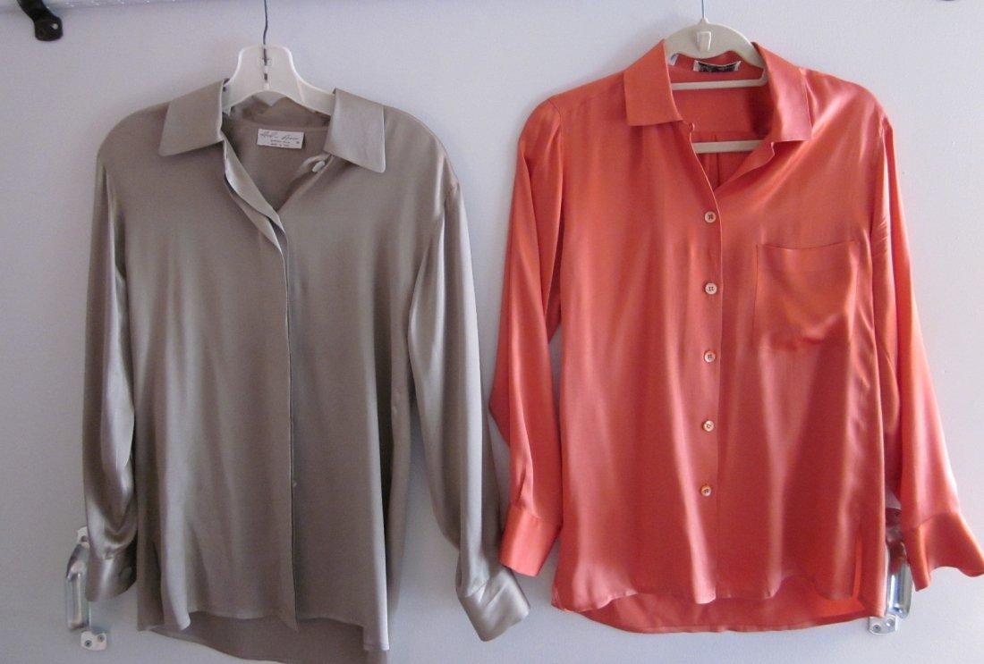 160: Lot of 2 Silk Blouses (Coral and Tan)