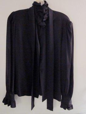 Givenchy Paris Black Ruffle Blouse