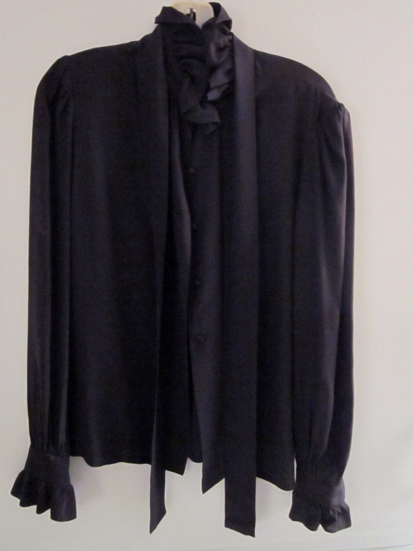 176: Givenchy Paris Black Ruffle Blouse