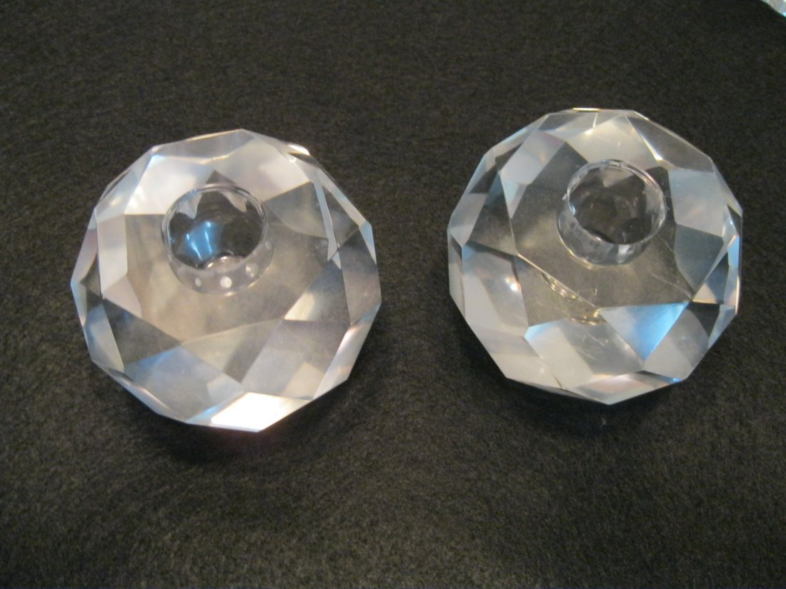 182: Pair of Faceted Crystal Candle Holders