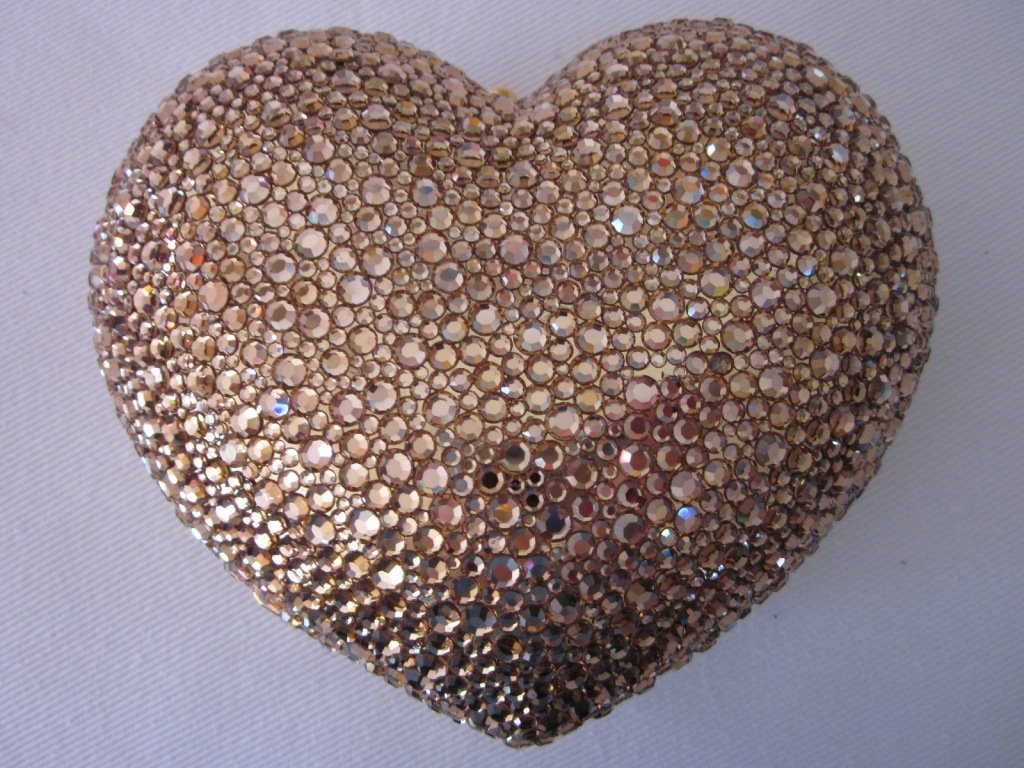 192: K. Baumann Gold Heart Purse Swarovski Crystal