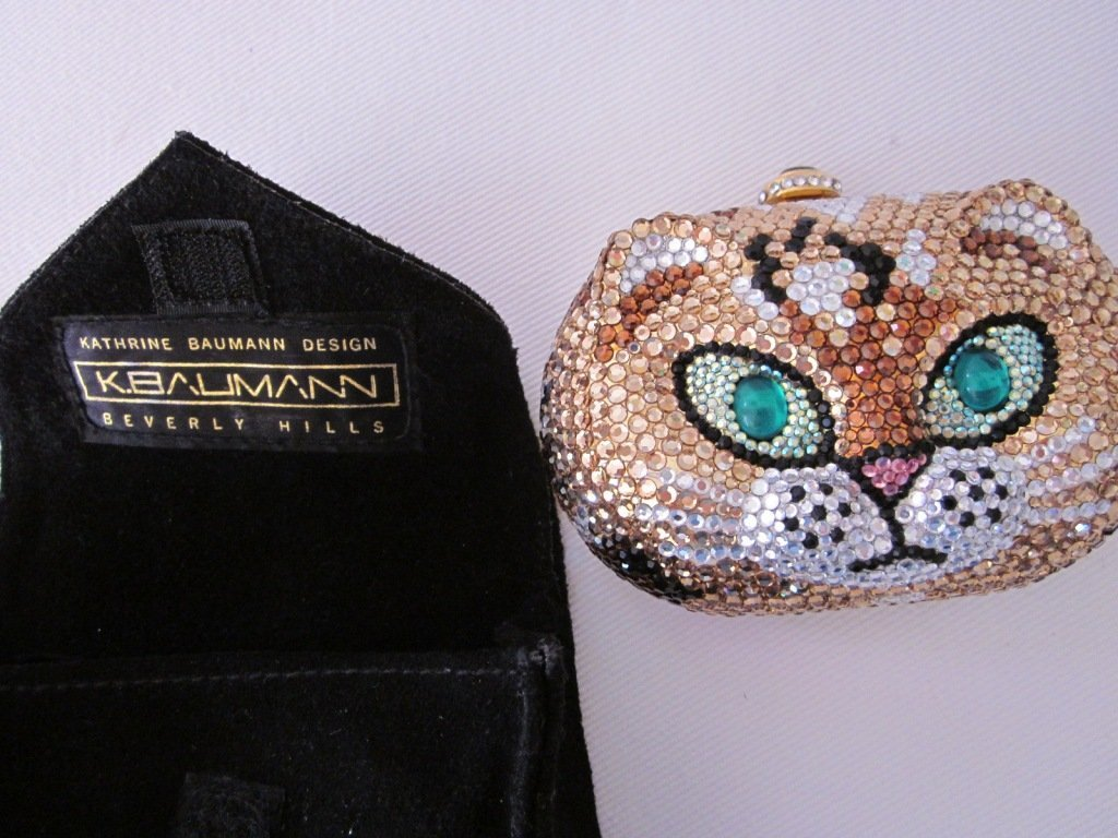 193: K. Baumann Swarovski Crystal Cat Purse
