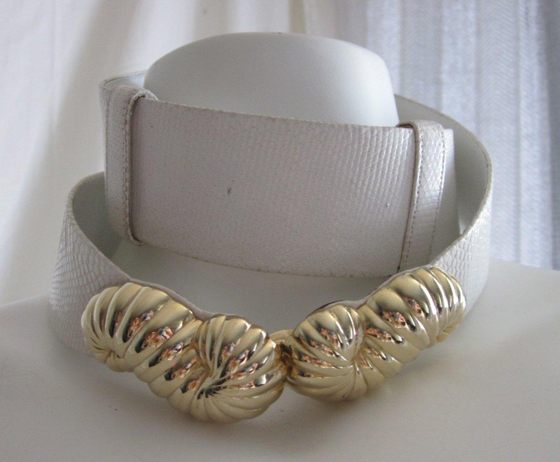274: Vintage Judith Leiber White Belt