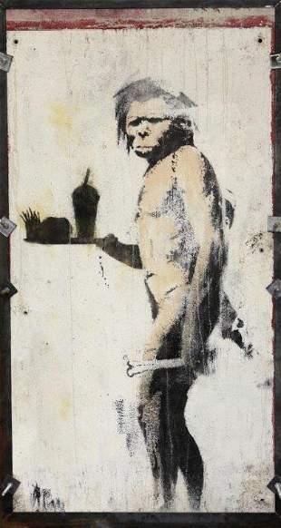 BANKSY (British )The caveman, 2008