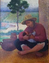 Ricardo E Florez (1889-1983) mother and child oil on