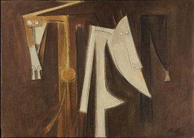 17: Wifredo LAM (1902-1982) , Figure on brown backgroun