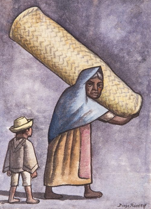 1: Diego RIVERA (1886-1957) Mujer con Nino, Mexican Sch