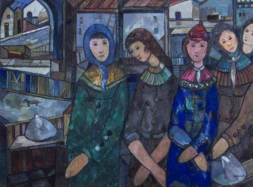 4: Jose MIJARES (1921-2004)  Five Women Waiting, Cuban
