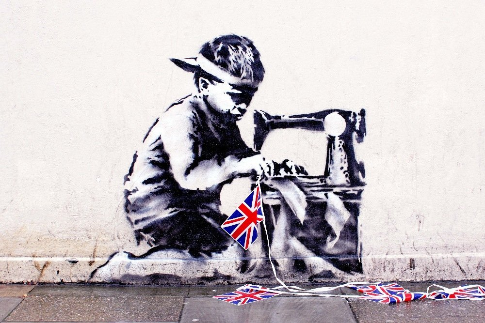 Banksy Slave Labor (Bunting Boy), London, 2012