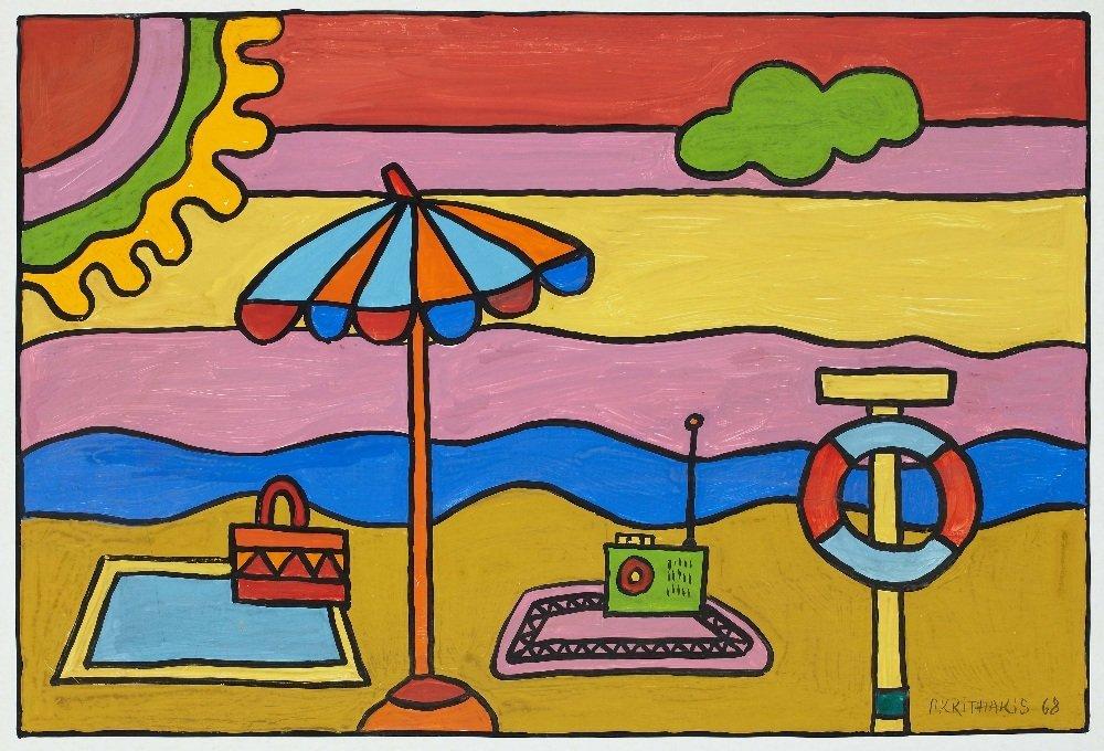 Alexis AKRITHAKIS (1939-1994) A Day at the Beach, 1968