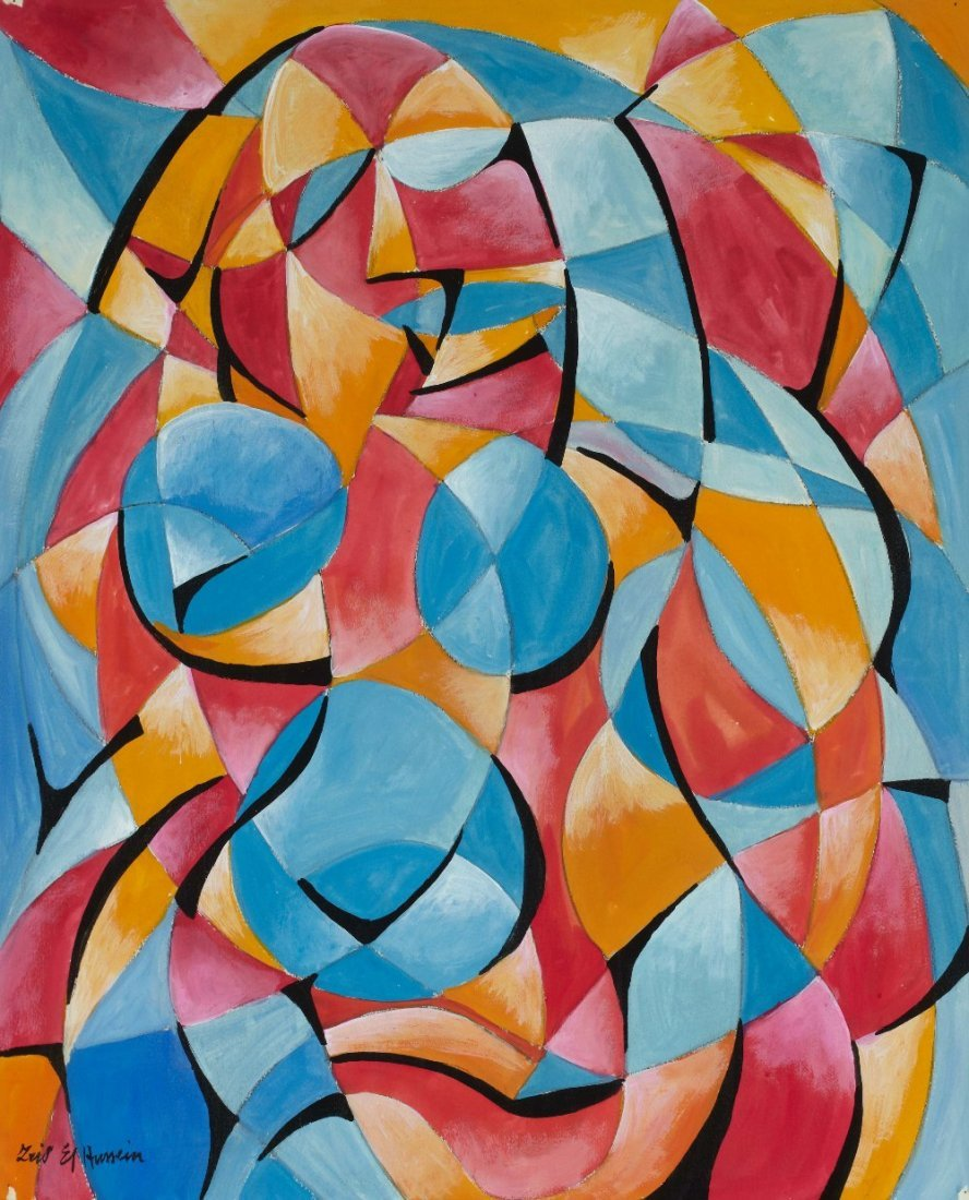 Fahr El Nissa ZEID (1901-1991) Composition in blue, red