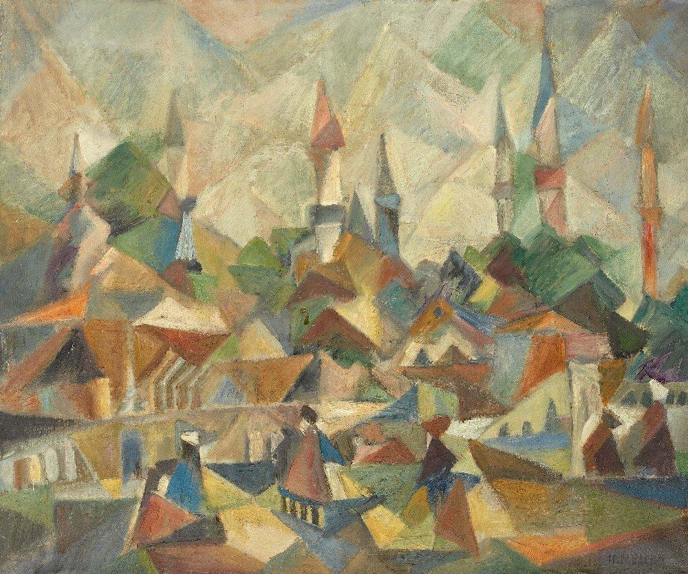 Hulusi MERCAN (1913-1988) Village scene
