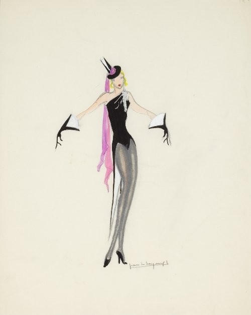 Jean LE SEYEUX (1894-1957) Costume design with top hat