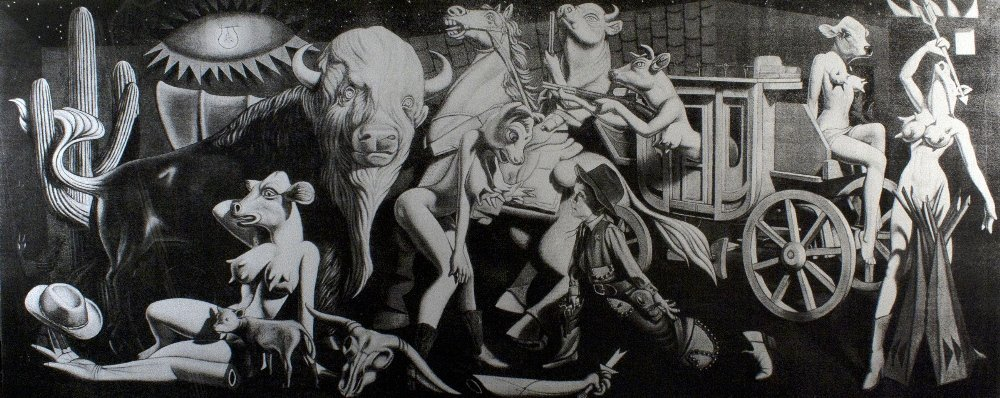 Cowgirl Guernica Black and White