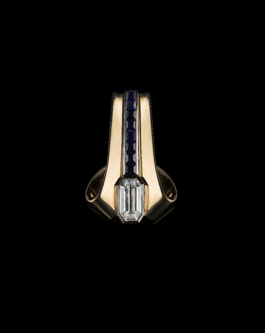 AN ART DECO DIAMOND AND SAPPHIRE CLIP, BY TEMPLIER