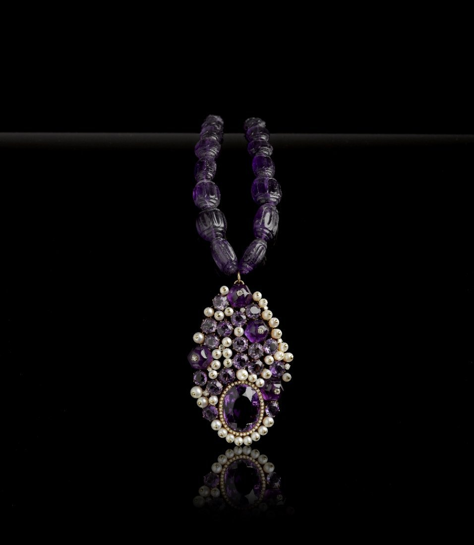 A RARE PENDANT/CLIP OF AMETHYST AND CULTURED PEARL, BY
