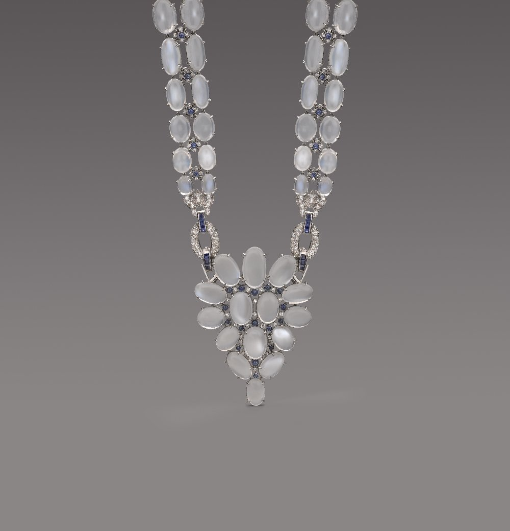 An Impressive Moonstone, Sapphire And Diamond Necklace,