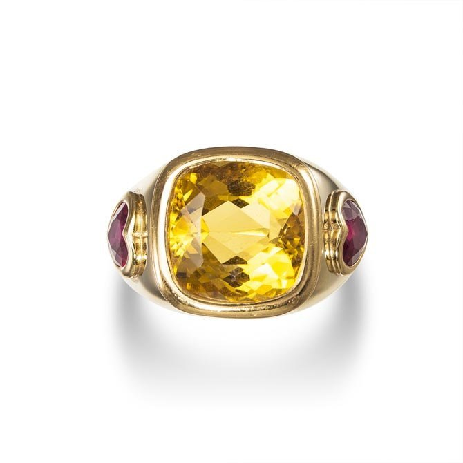 A Citrine and Ruby Ring Centering upon a square