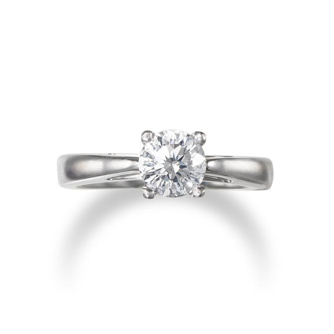 A diamond ring mounted in 18k white gold, size 6
