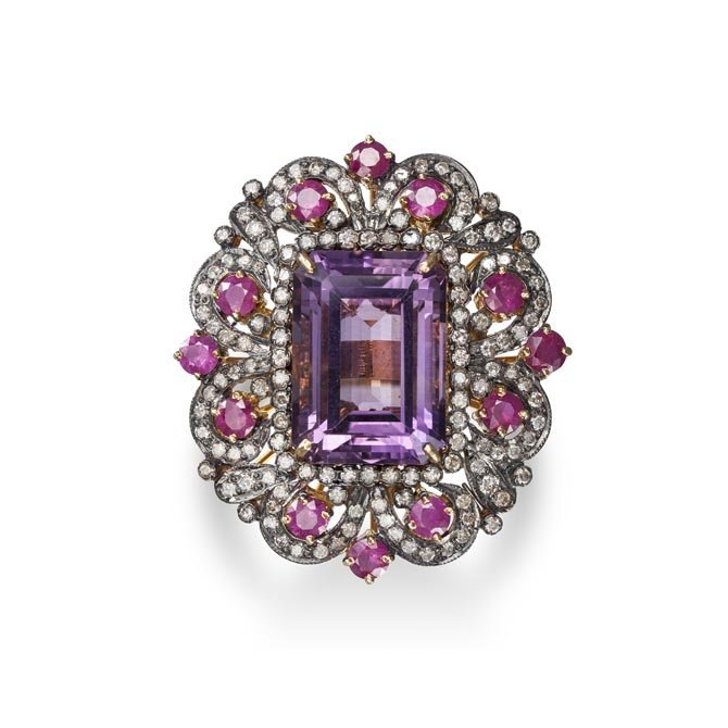 A One of a Kind Amethyst, Ruby and Diamond Ring Formed