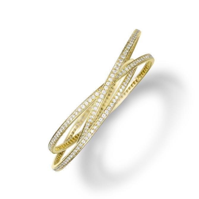 A Set of Diamond Bangle Bracelets Designed as three