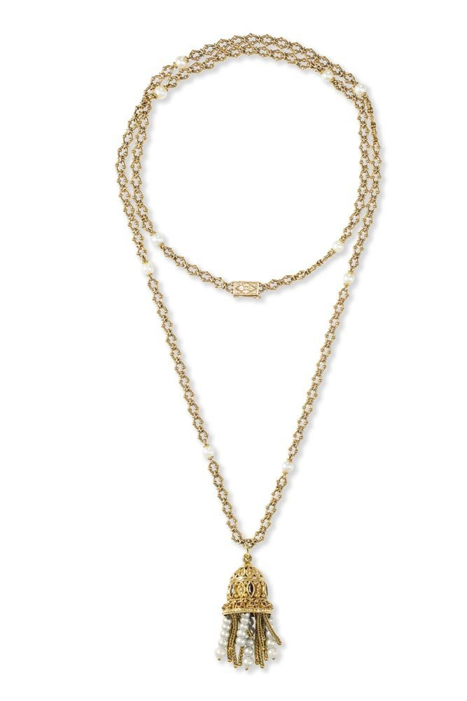 A Gold and Pearl Tassel Necklace The necklace, spaced