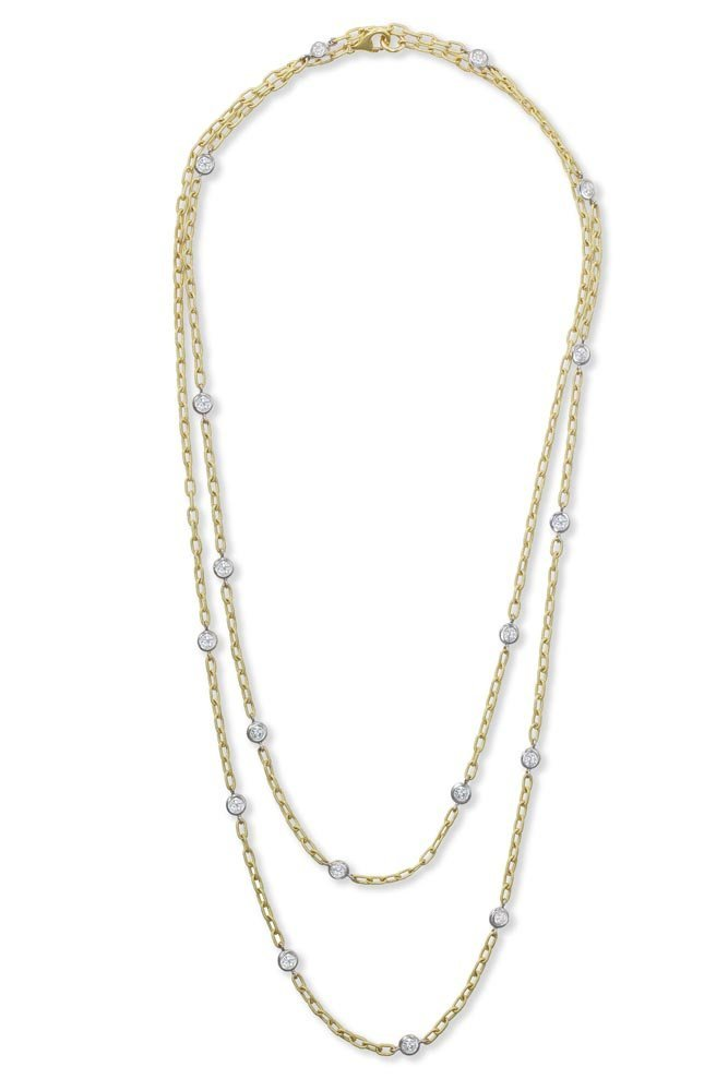 A Diamond Long Chain Necklace Spectacle-set with