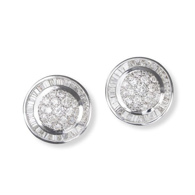 Diamond Button Earring A Pair of Comprising a pair of