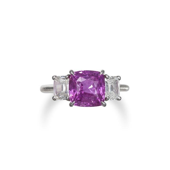 A Pink Sapphire and Diamond Ring Set with a square