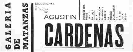 Flyer for Agustin Cardenas' exhibition at MATANZAS