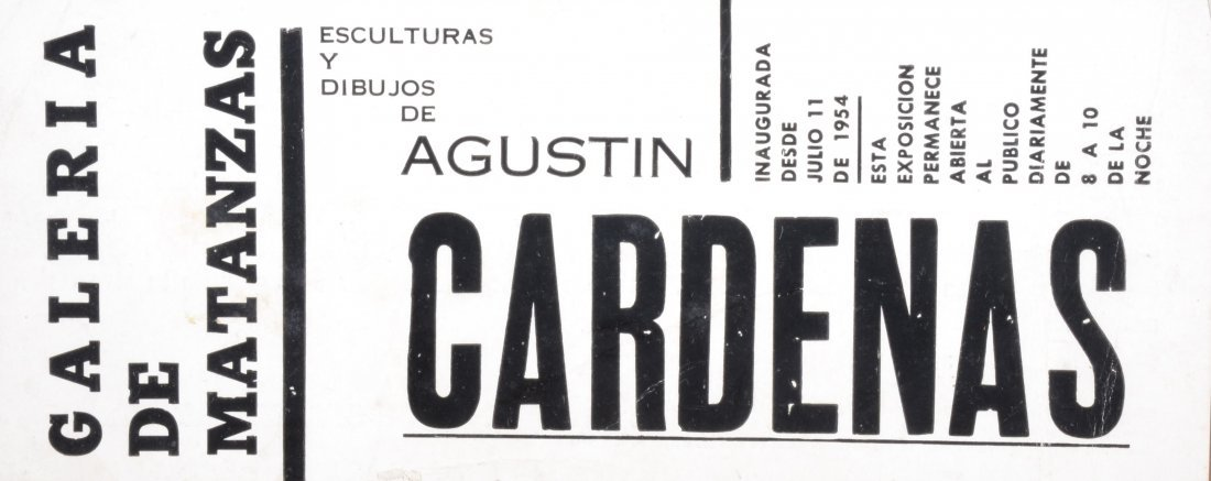 Flyer for Agustin Cardenas' exhibition at MATANZAS