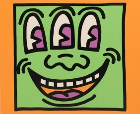 """Keith Haring (1958-1990); Icons Series """"alien"""", 1990"""