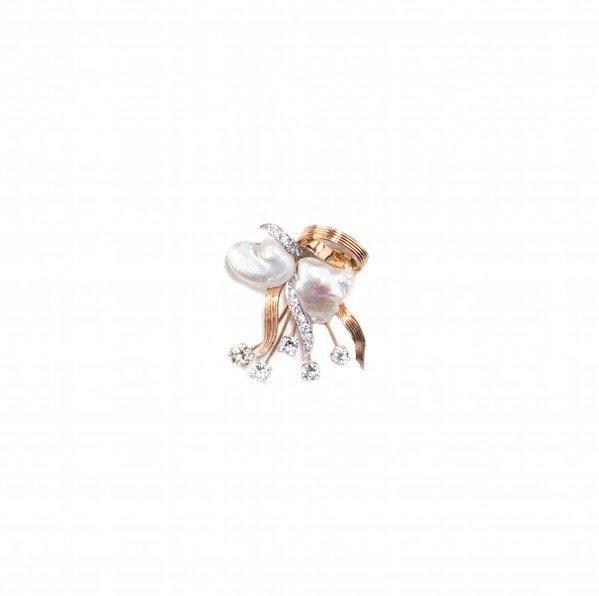 An 18 Karat Gold, Platinum, Pearl and Diamond Brooch,