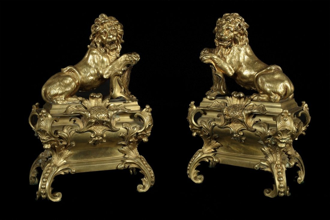 Pair of Decorative Bronze Lions
