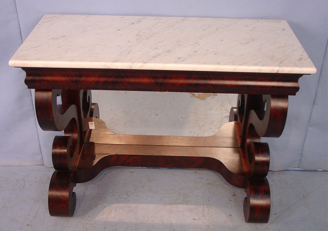 406: Mahogany Empire Pier Table with scroll columns and