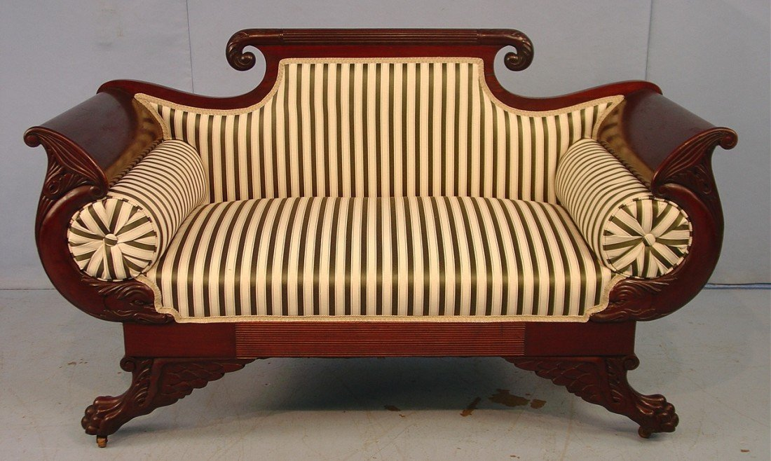 307: Mahogany Empire Love Seat with claw feet and dolph