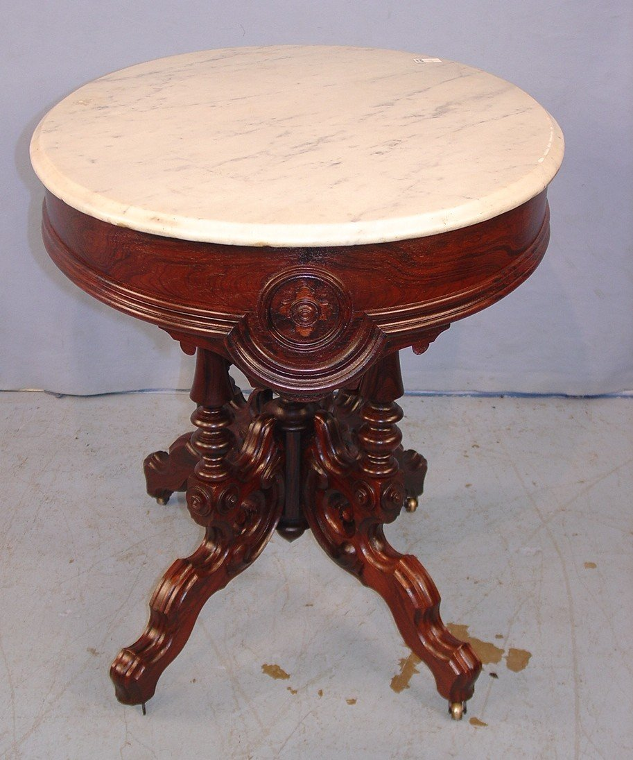 410: Oval Rosewood Marble Top Victorian Center Table wi