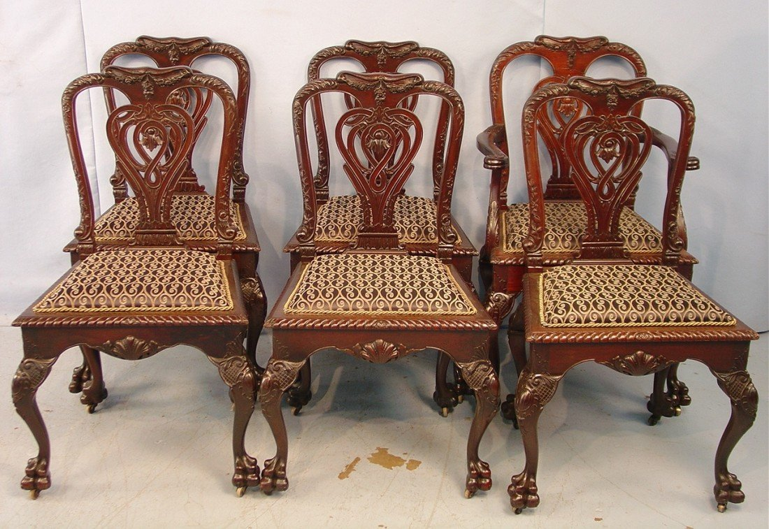 110: Set of  6 Dining Room Chairs, heavily carved backs