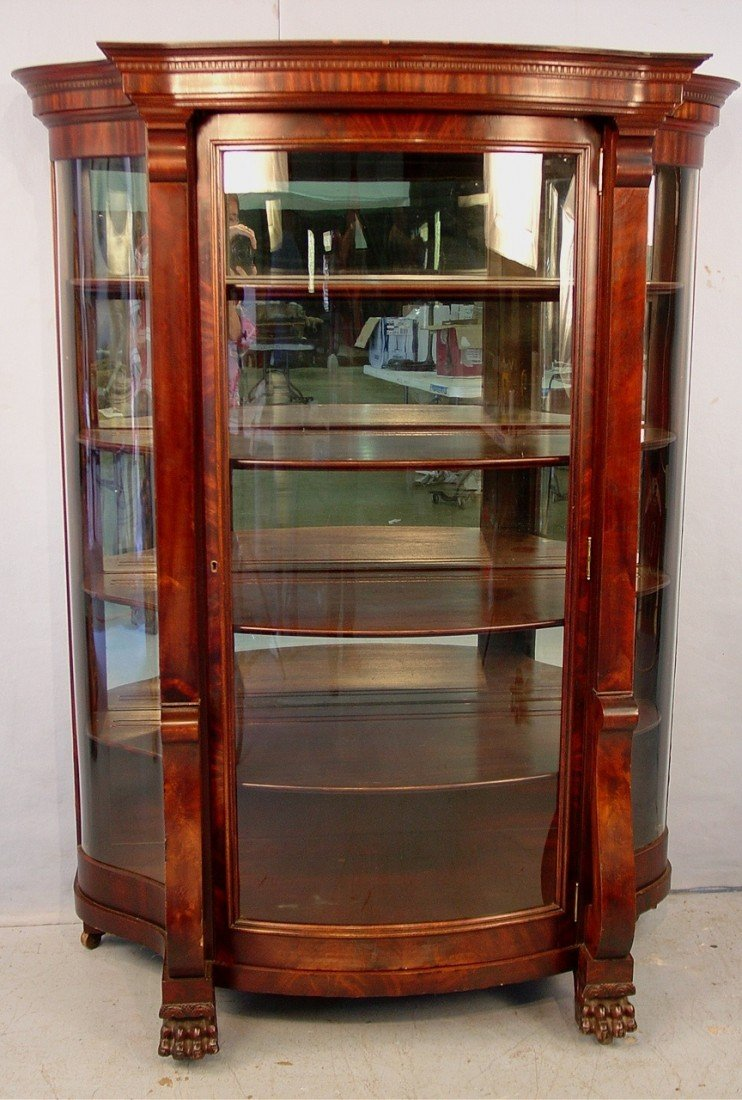 164: Large Mahogany Curved Glass Empire China Cabinet w