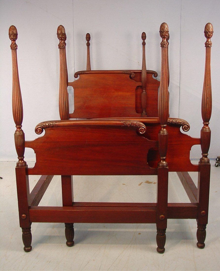328: Pair of Mahogany Twin Poster Beds, acanthus carved