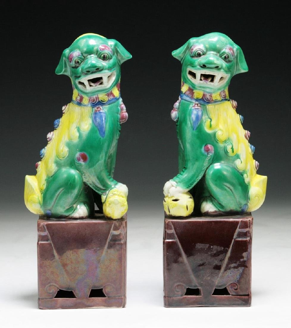 PAIR CHINESE ANTIQUE FAMILLE ROSE LION DOGS