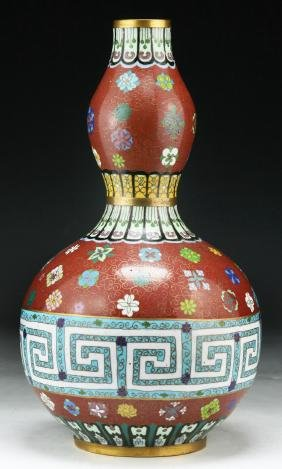 A CHINESE CLOISONNE ON BRONZE VASE