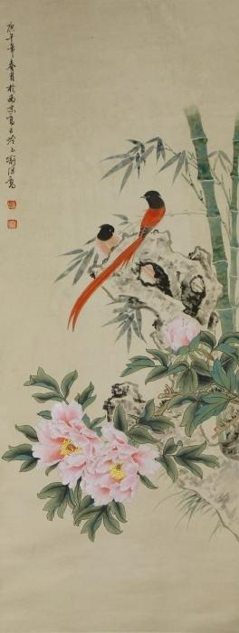 A CHINESE PAPER HANGING PAINTING SCROLL BY YU, JI GAO