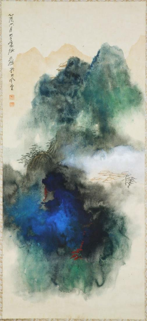 A CHINESE PAPER HANGING PAINTING SCROLL BY YUAN, JIANG