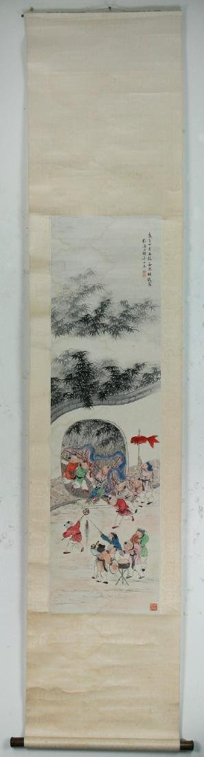 A CHINESE PAPER HANGING PAINTING SCROLL BY YUAN, JIANG - 5