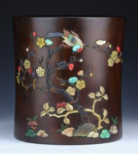 A BIG CHINESE APPLIQUE WOOD BRUSH POT