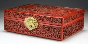 A FINE CHINESE ANTIQUE CINNABAR LACQUER BOX WITH COVER: