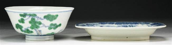 TWO (2) CHINESE ANTIQUE PORCELAIN BOWL & PLATE
